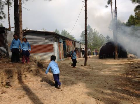 Ghormu School new location with temporary shelters & students, Nov 2015